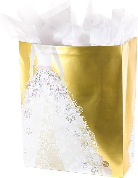 Pocket hearts 12 x 10 gold yellow gift bag