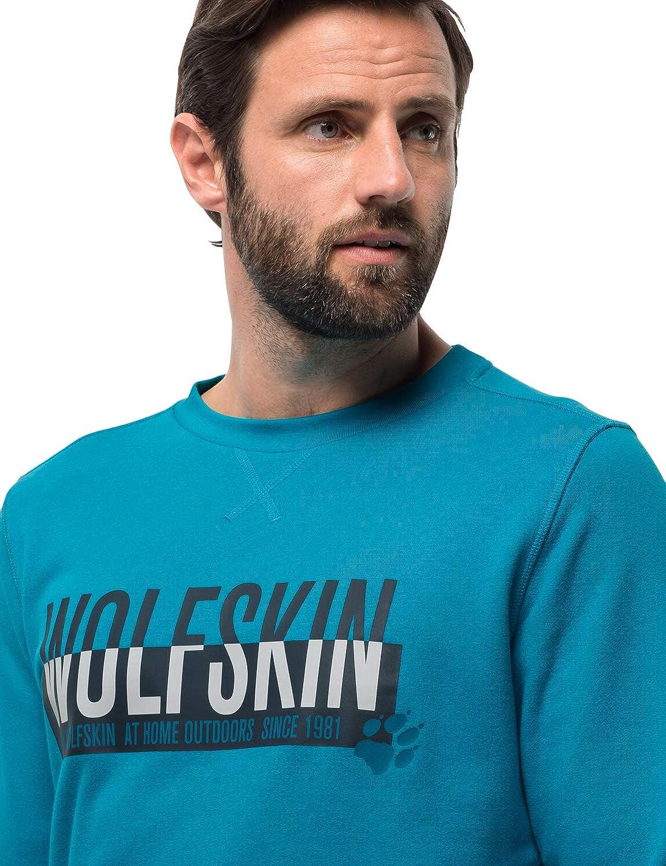Jack Wolfskin Herren Slogan Sweatshirt Pullover Blue Reef