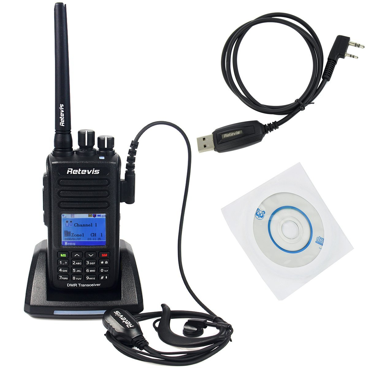 Retevis RT8 IP67 Waterproof Dustproof DMR Digital Two Way Radio 5W VHF 136-174Mhz 1000 Channel and Programming Cable (1 Pack)
