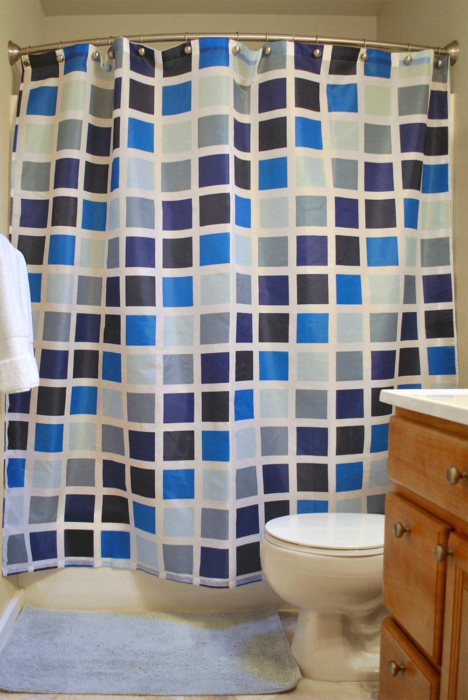 DII Oceanique 5-Piece Bathroom Starter Set, Includes 72x72'' Shower Curtain, 12 Shower Hooks, 1 Soap Dish, 1 Cup, 1 Lotion Dispenser, Mosaic Tile
