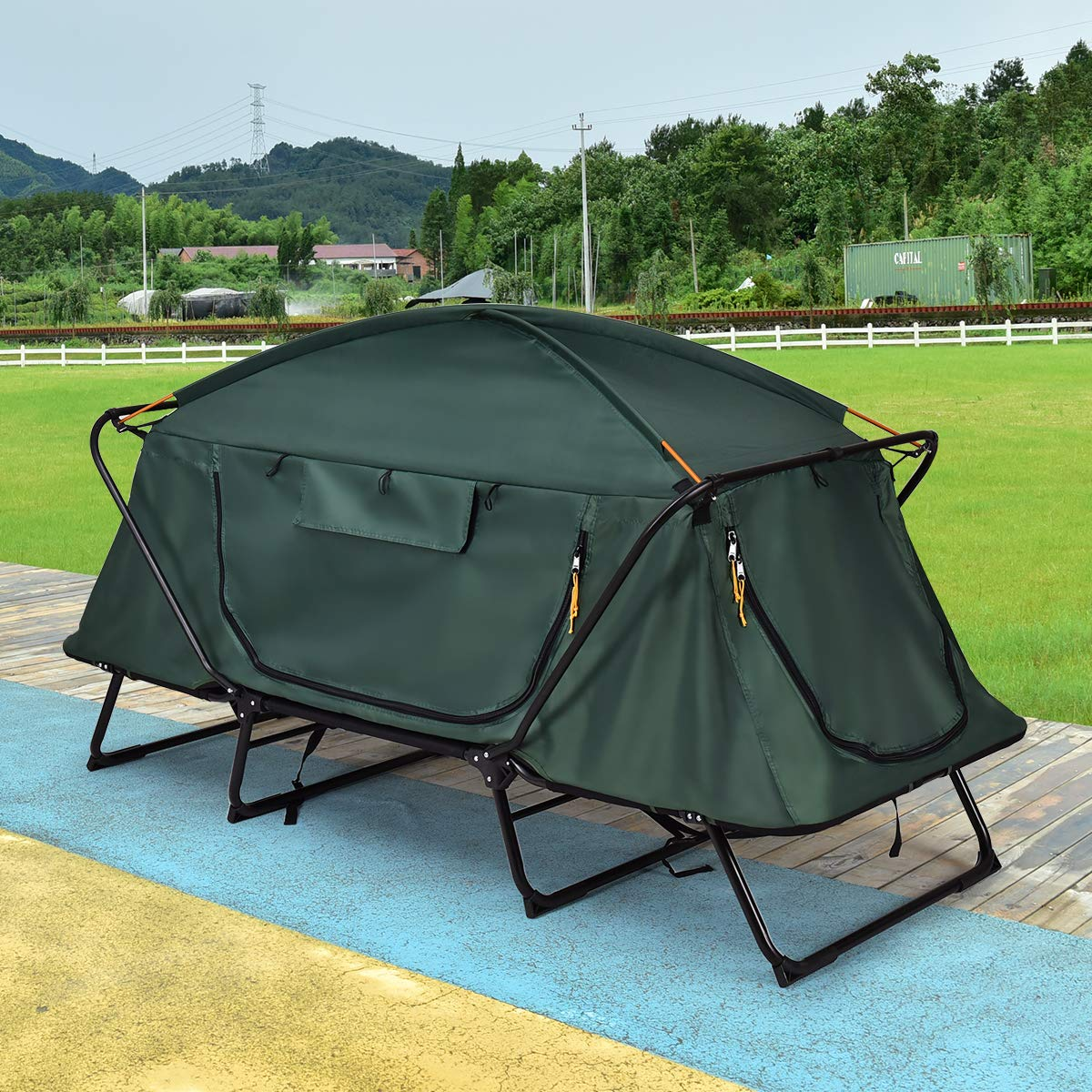 GYMAX Tent Cot, 1 Person Foldable Camping Waterproof Shelter with Window Carry Bag by GYMAX (Image #3)