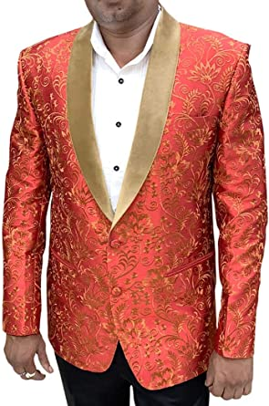 INMONARCH Mens Slim fit Casual Red Cotton Blazer Sport Jacket Coat Polka Printed SB14494