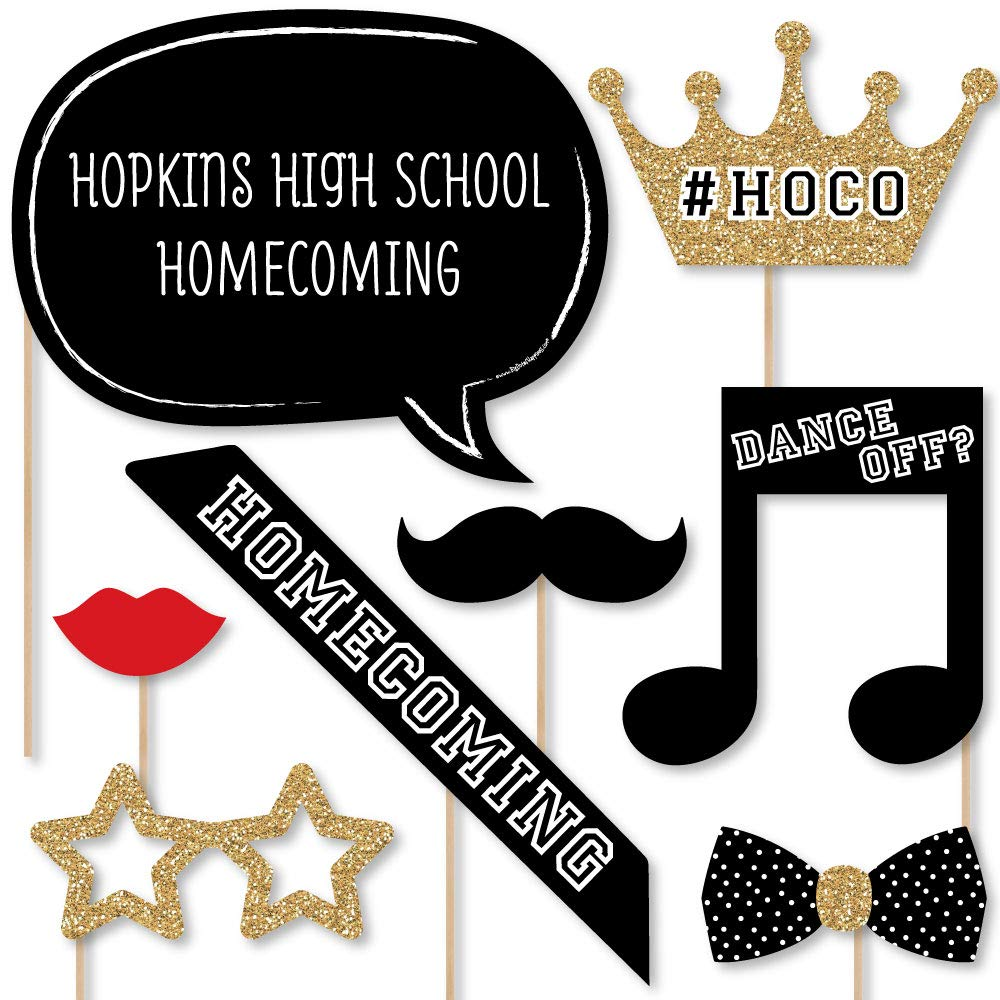 Big Dot of Happiness Custom HOCO Dance - Photo Booth Props - Personalized Homecoming Party Supplies - 20 Selfie Props