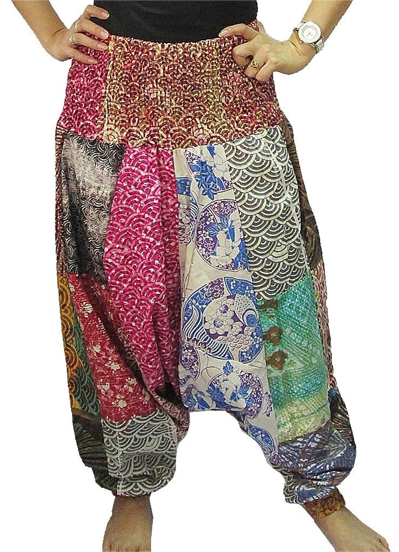 Women's Patchwork Drop-Crotch Smock Waist Long Pants