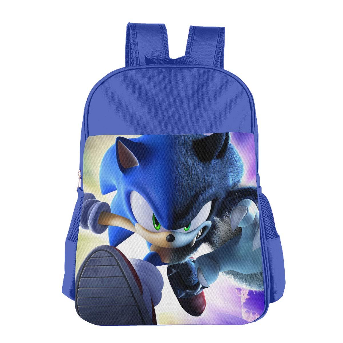 CNJELLAW ブルー ハリネズミ ソニック スクールバッグ プリント 軽量 学生用バックパック 子供用 ブックバッグ デイパック B07M7GCDCW ブルー One Size