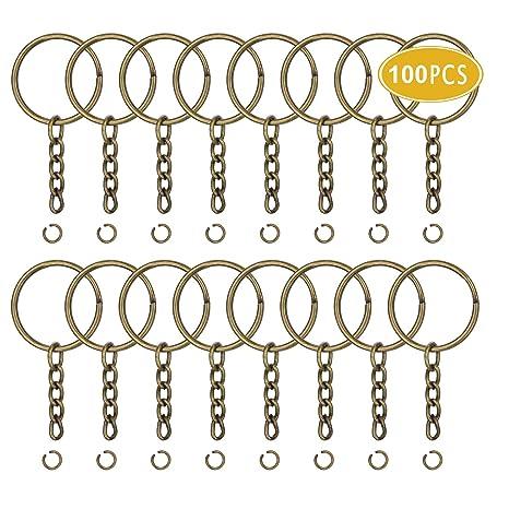 JEWMAY - 100 llaveros con cadena y anillas de saltar para ...