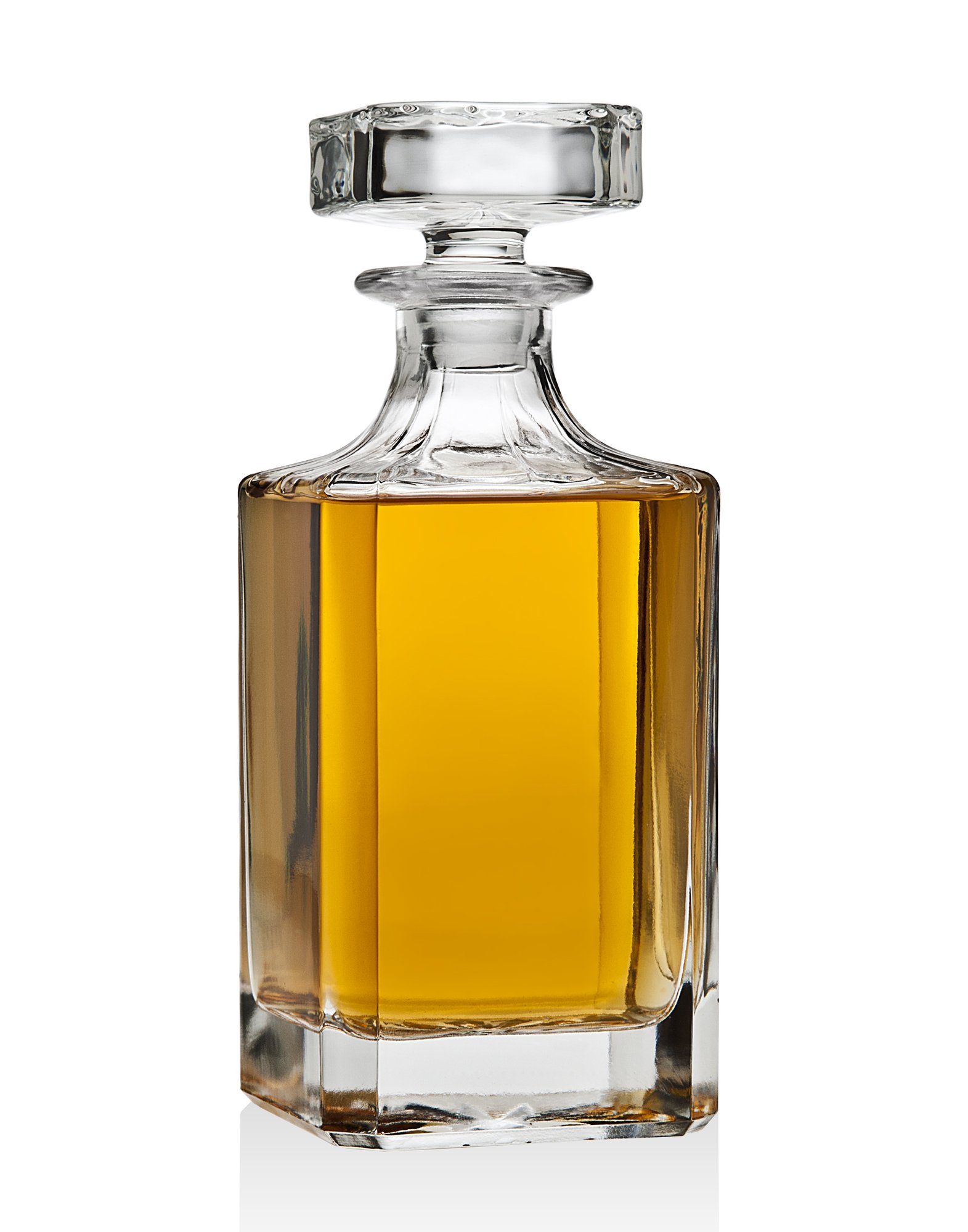 Whiskey Decanter for Liquor Scotch Bourbon or Wine, Non Leaded Crystal - 750ml