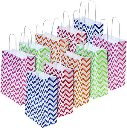 22 * 16 * 8 cm Sacchetti Borse Carta Kraft Shopper Carta Economiche BUZIFU 20 Pezzi Sacchetto di Carta Regalo Regalo Borse con manici per Compleanno Festa San Valentino Shopping