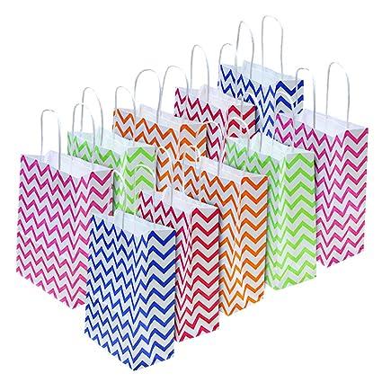 Bolsas para Regalo BUZIFU 20pcs Bolsas de Papel con Rayas Onduladas de Colores, Bolsas para Regalos de Boda Navidad Fiesta de Cumpleaños Comunión ...