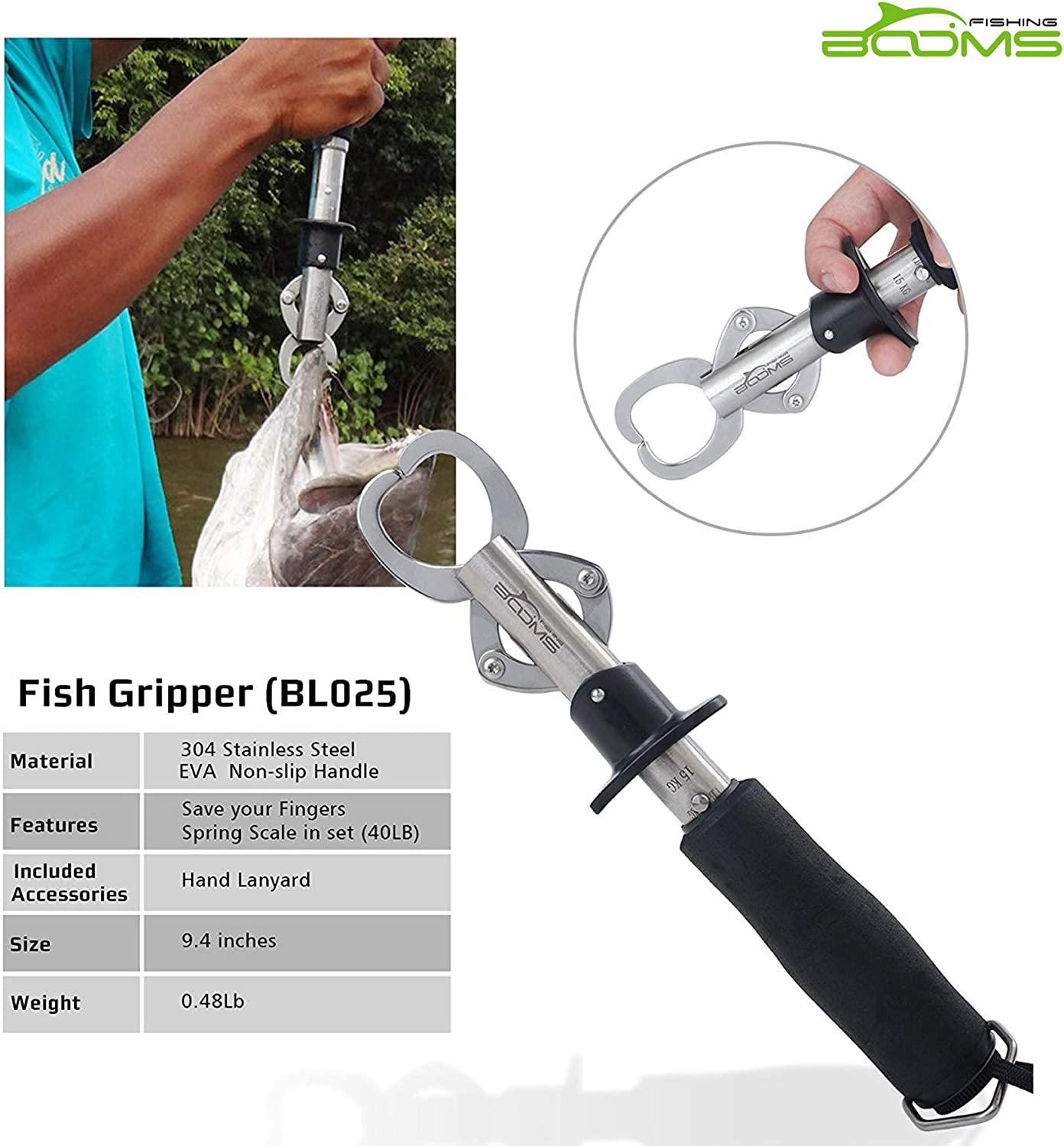 Booms Fishing G1 Sea Fishing Lip Gripper Grip Tools and Hold Fish with Tight Grip Built-in Scale and Tape 3