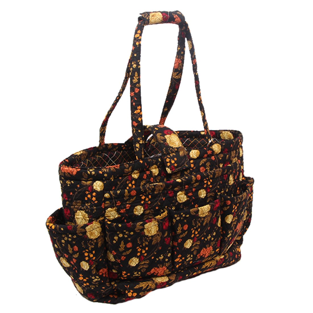 Floral Quilted Cotton Needle Bag Knitting Bag Yarn Storage Tote Yellow Rose