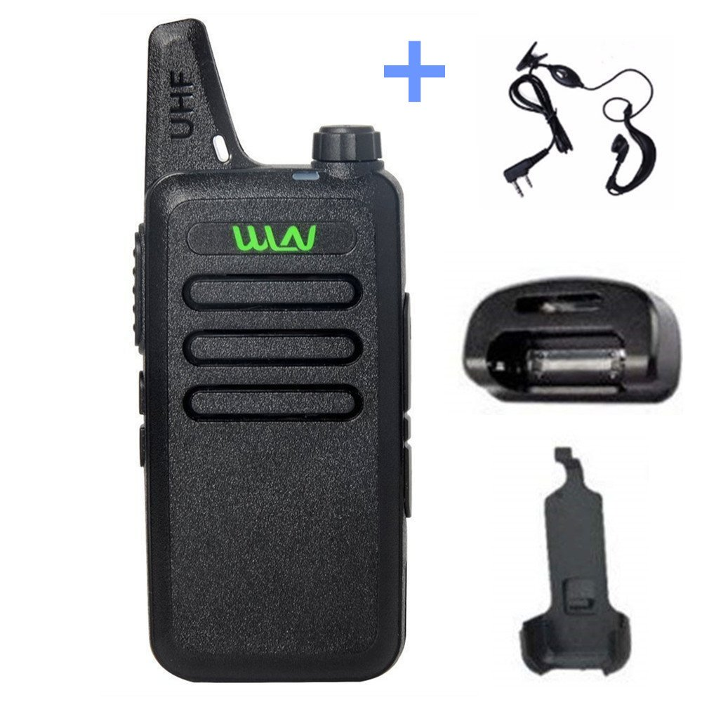 WLN KD-C1 Mini Walkie Talkie, UHF 400-470Mhz Two Way Radio with Desktop Charger, Belt Clip and Earpiece for Kids hiking hunting by WLN