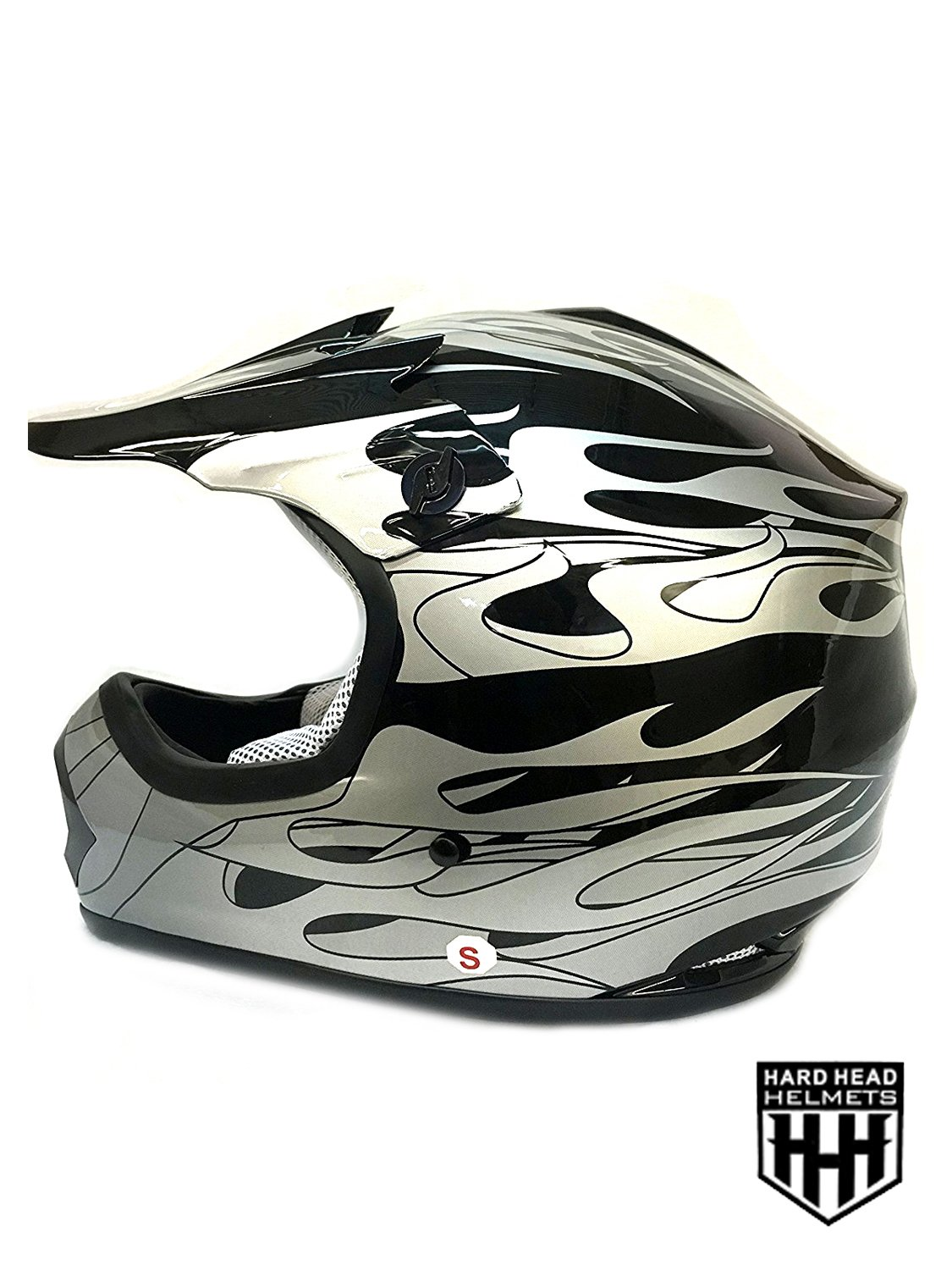 SmartDealsNow YOUTH DOT Helmet Black Flame Color Dirt Bike Style Youth Model Large