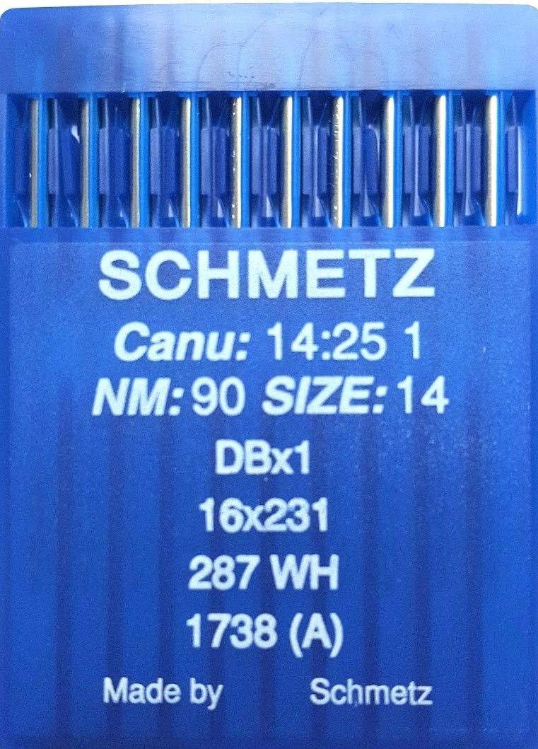 SCHMETZ - Agujas para máquina de coser industrial CANU 14,25 1 DBX1 16X231 287 WH tamaño 90/14