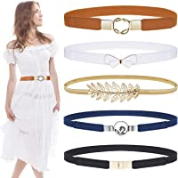 Skinny Belts for Women 5 Pack, EAONE Fashion Skinny Belt Stretch Women Waist Belt Plus Size Elastic Waist Band for Dresses, 5 Style
