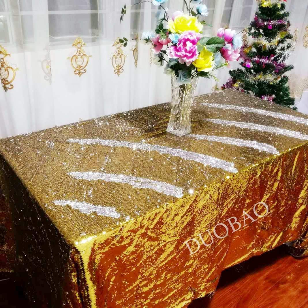 DUOBAO 72x108-Inch Rectangle Sequin Tablecloth Gold to Silver Mermaid Sequin Table Cover Glitter Table Cloths for Wedding/Party/Kitchen decorations-0612H