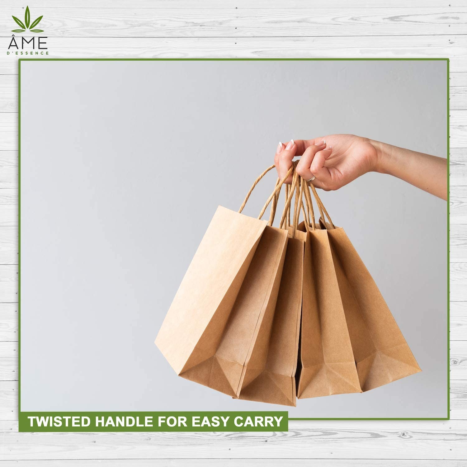 Kraft Brown Paper Bags w//Handles Reusable Grocery Bags Great Gift Bag Recyclable Shopping Bags Small Size 8.0L x 4.5W x 10.0H Eco-Friendly /& Biodegradable 25 pcs