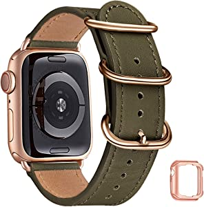 Leather Bands Compatible with Apple Watch Band 38mm 40mm 42mm 44mm,Genuine Leather Replacement iWatch Band for iWatch Series5/4/3/2/1 (Army Green/Rose Gold, 38mm 40mm)