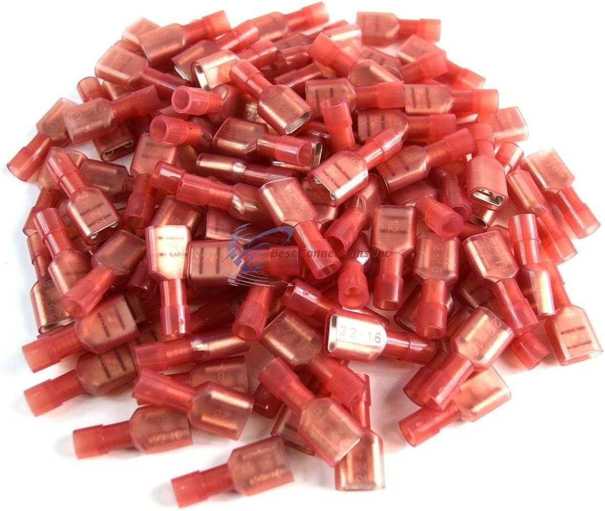 """500 pcs Red Female Disconnect Nylon 22-18 gauge AWG 1//4/"""" Audio Video Scosche"""