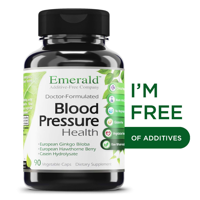 Blood Pressure Health - with European Ginkgo Biloba & Hawthorn Berry - Promotes Healthy Circulation, GI Health, Decrease Inflammation, & Stress Relief - Emerald Laboratories - 90 Vegetable Capsules