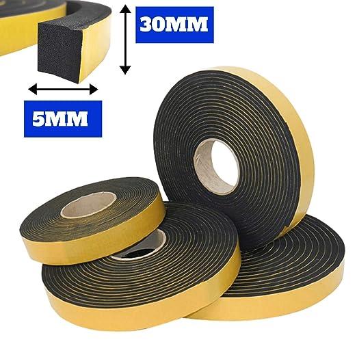 Guidetti Service - Junta adhesiva negra de 5 mm, rollo de 10 ...