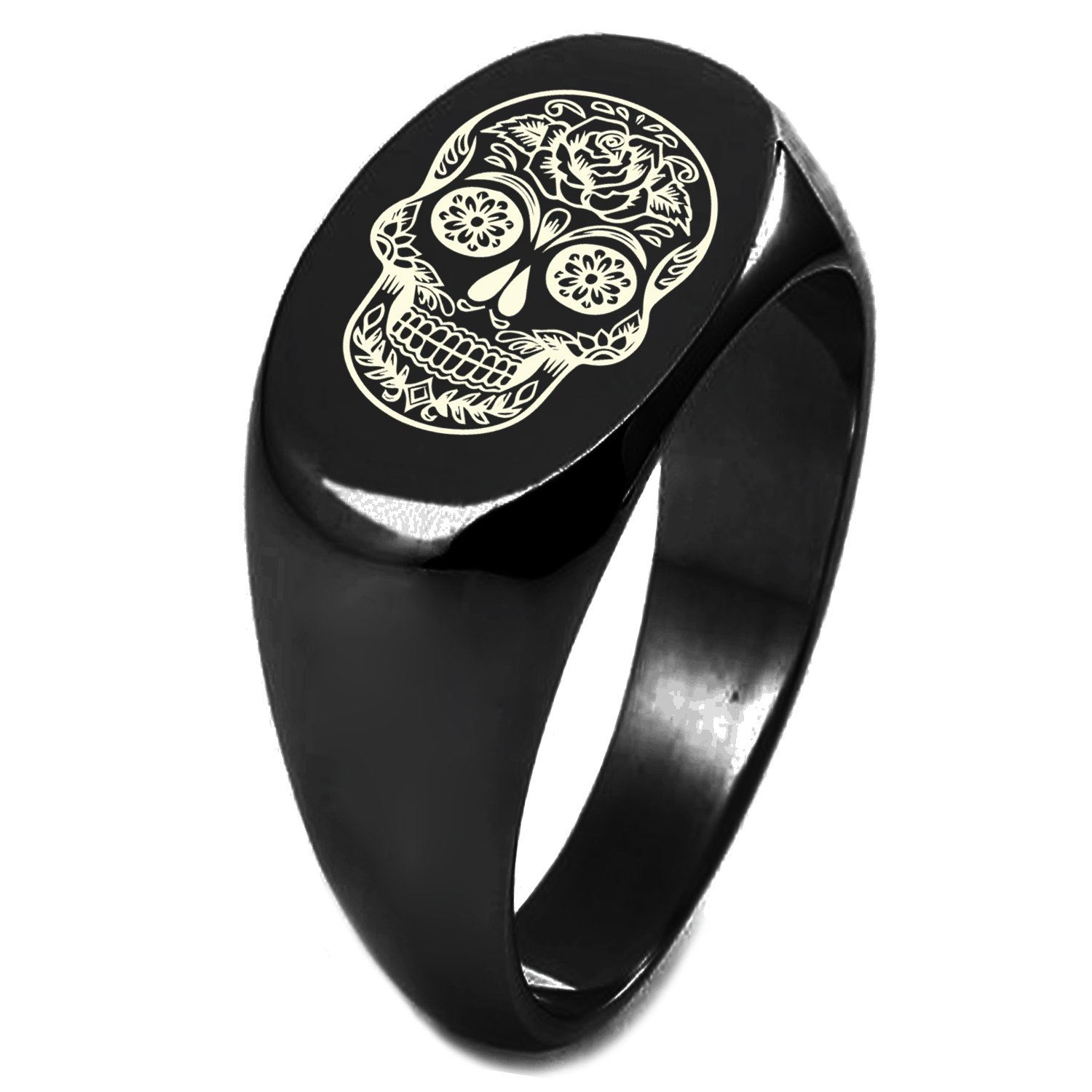 Black IP Plated Sterling Silver Day of the Dead Sugar Skull Symbol Engraved Oval Flat Top Polished Ring, Size 8