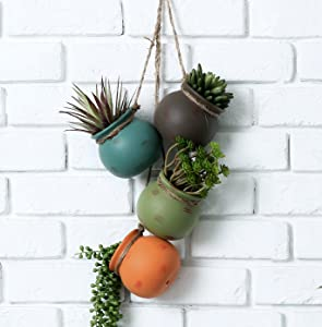 Dangling Multicolor Ceramic 4 Pot Set, Wall or Ceiling Mount Hanging Mini Flower Planters