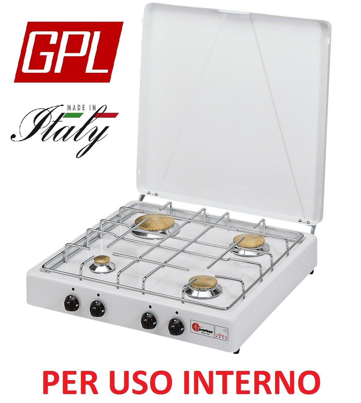 Gaskocher sicherheitsöffnungsventil Parker A GAS GPL (Gas in Gasflaschen) mit 4 flammig Farbe Weiß und Schwarz – für Verwendung Innen -