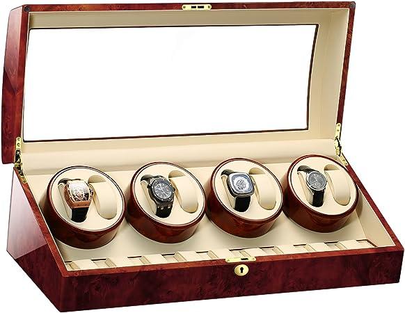 JIANBO Estuche bobinadora para Relojes • Caja para Relojes automático único enrollador de Reloj • Cargador de Rotación automática para Relojes (8 + 9 Almacenamiento de Piel), 02: Amazon.es: Hogar