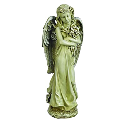 Joseph's Studio by Roman - Angel with Bouquet Statue, 19.75H, Garden Collection, Resin and Stone, Decorative, Religious Gift, Home Outdoor and Indoor Decor, Durable, Long Lasting: Home & Kitchen