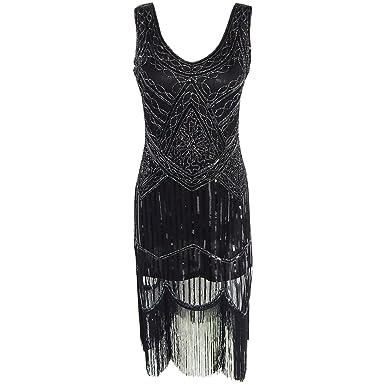 Damen Trägerlos Kleider 1920er Art Deco Perlen Franse Flapper V ...
