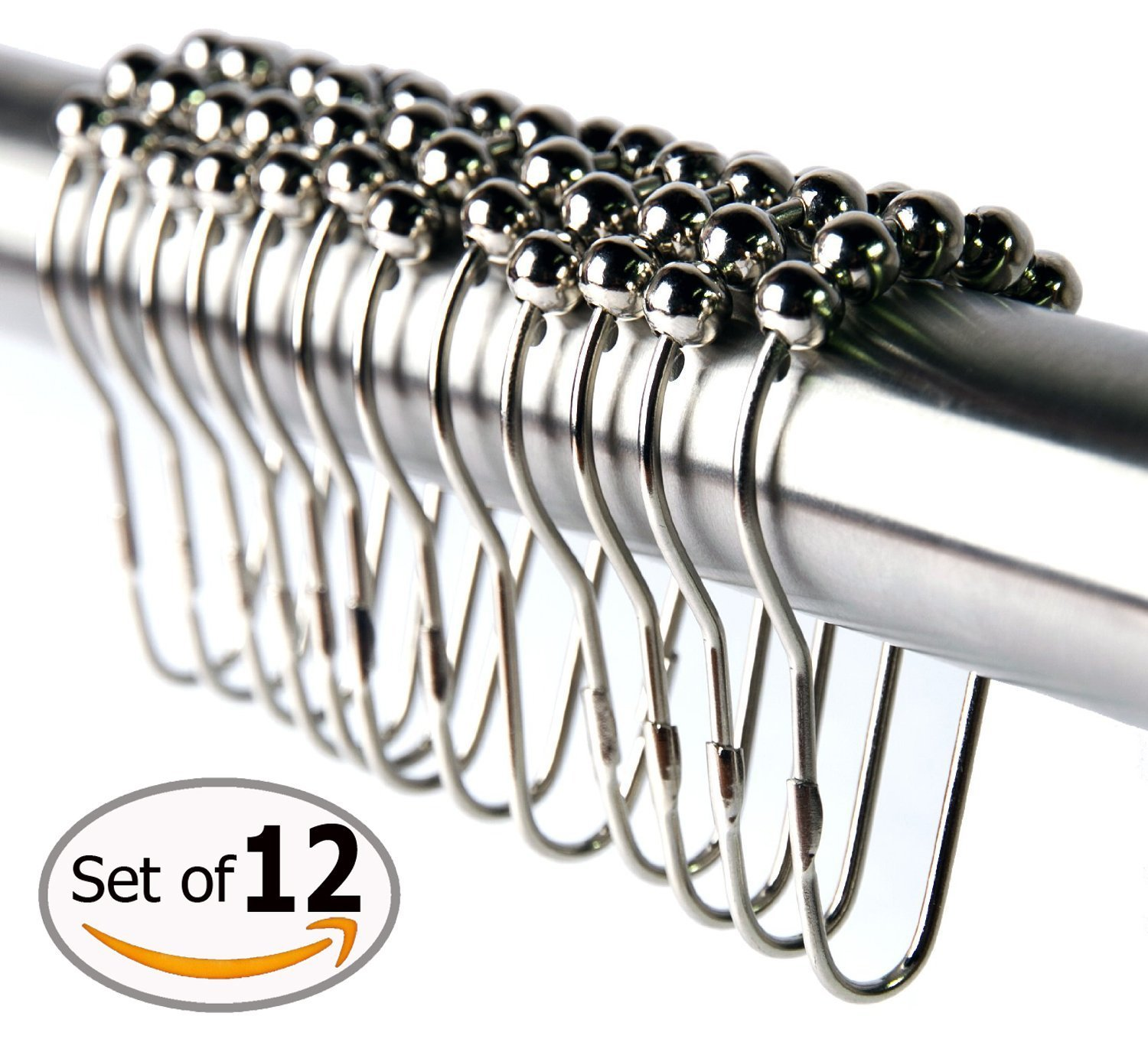 Shower Curtain Hooks 12 Piece Rings Stainless Steel Rustproof Friction Free Gliding 1 Sets of 12 Hooks , Value Pack
