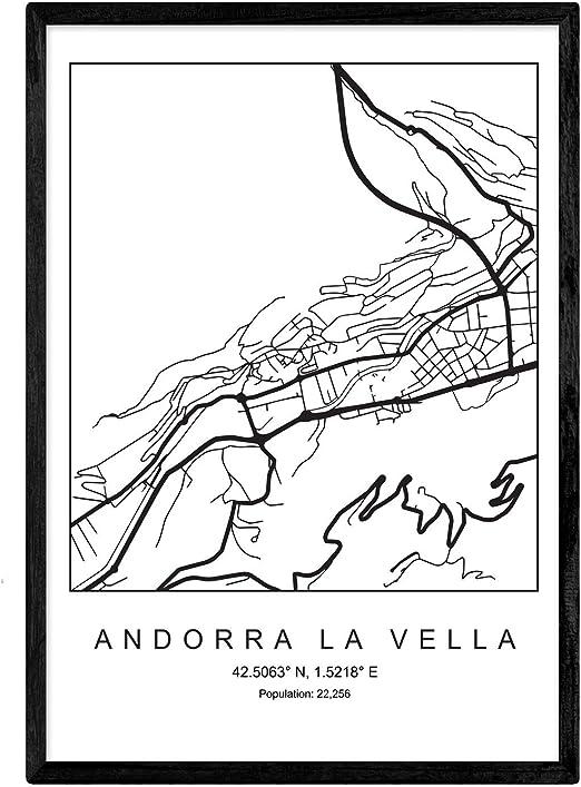 Nacnic Lámina Mapa de la Ciudad Andorra la Vella Estilo nordico en ...