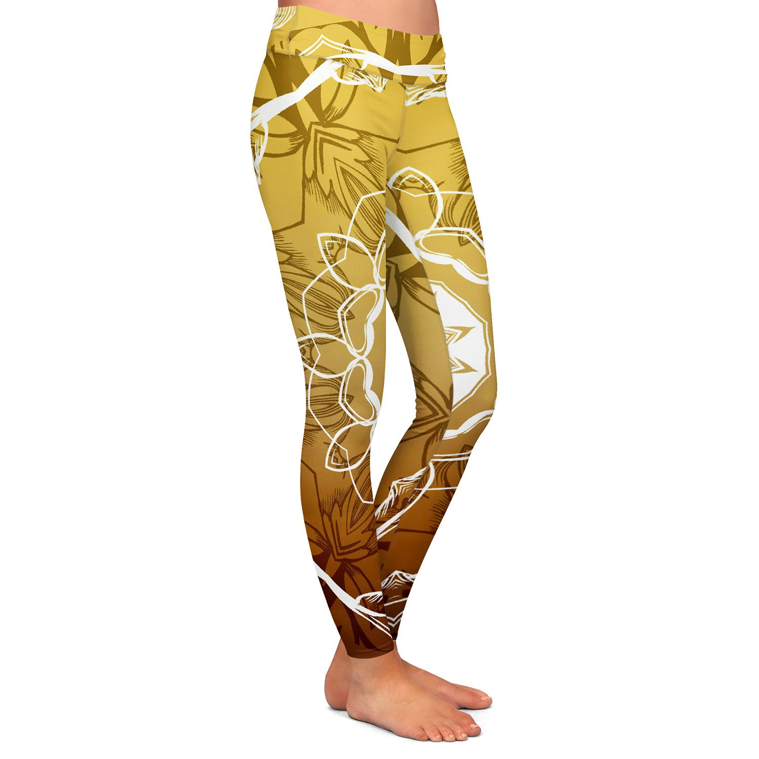 Athletic Yoga Leggings from DiaNoche Designs by Angelina Vick Medallion 3 Gold