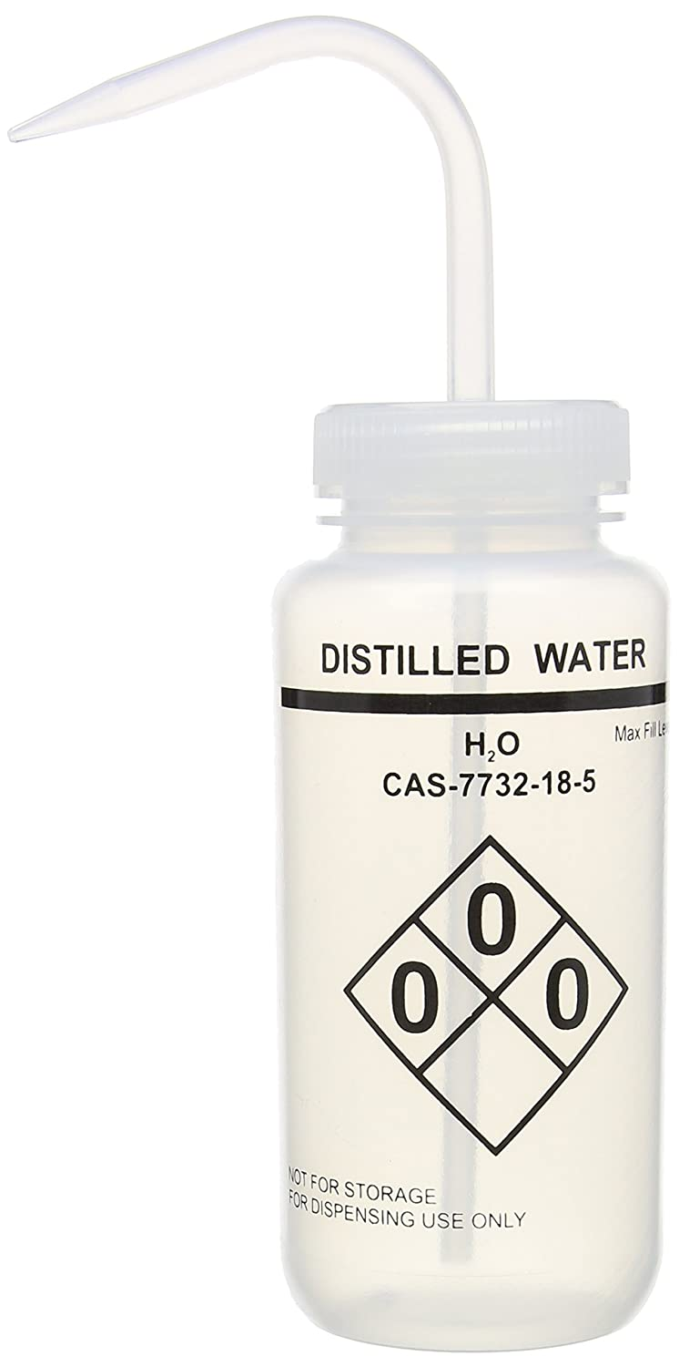Safety Labelled 500 mL Self Venting Heathrow Scientific HD120251 Wash Bottles Distilled Water Wide Mouth Pack of 6 Natural