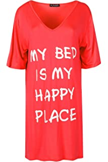 Ladies Short Sleeve My Bed Is My Happy Place Baggy Oversize Womens Mini PJ Dress