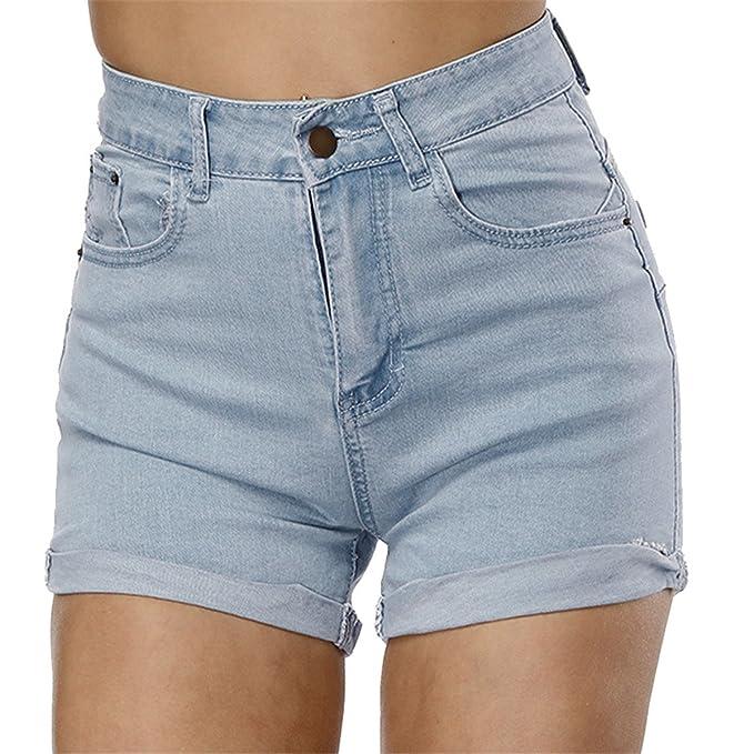 COCO clothing Modisch Curling Hellblau Jeans-Shorts Normaler Bund Kurze-Hose  Hose Gekürzte Jeanshose 31a16d9962