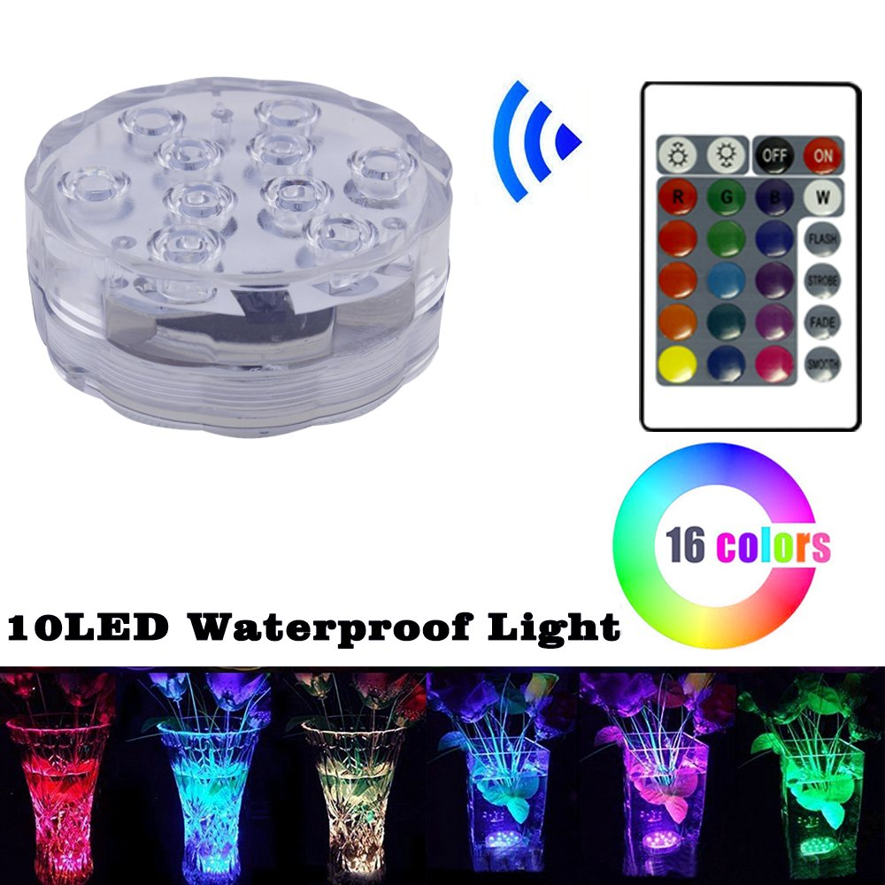 4 Pack RGB Submersible LED Lights,LUXJET® Underwater Decor Lighting Color Changing for Aquarium, Pond, Fish Tank, Birdbath, IR Remote Control, Battery Operate