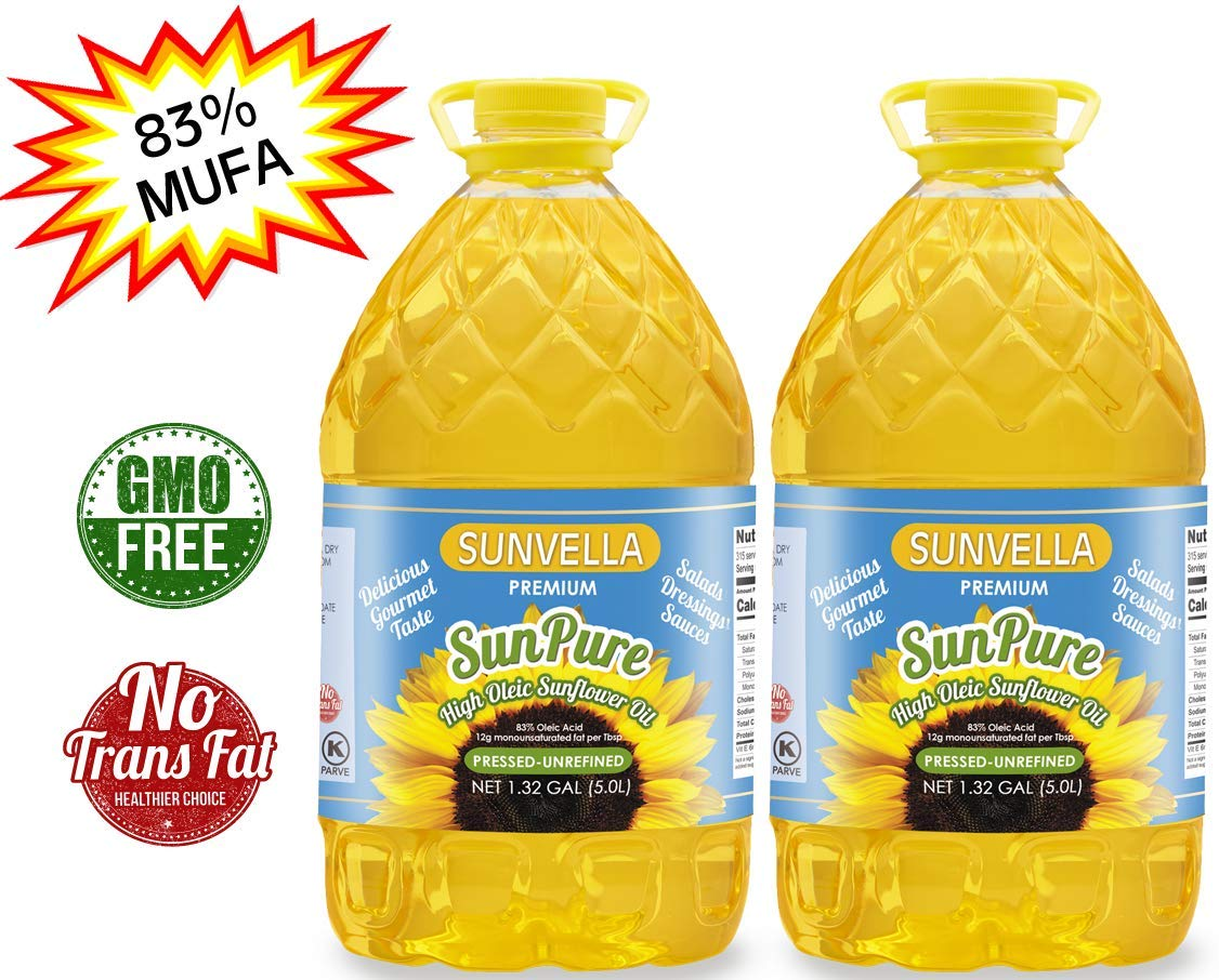 SUNVELLA SunPure Non-GMO High Oleic Sunflower Oil, Pressed-Unrefined Pack of 2 (1.32 GAL x 2) by SUNVELLA