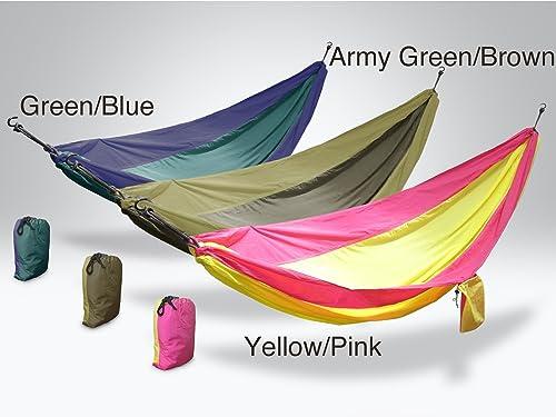HALO Hammocks Portable Nylon Silk Hammock – Army Green Brown