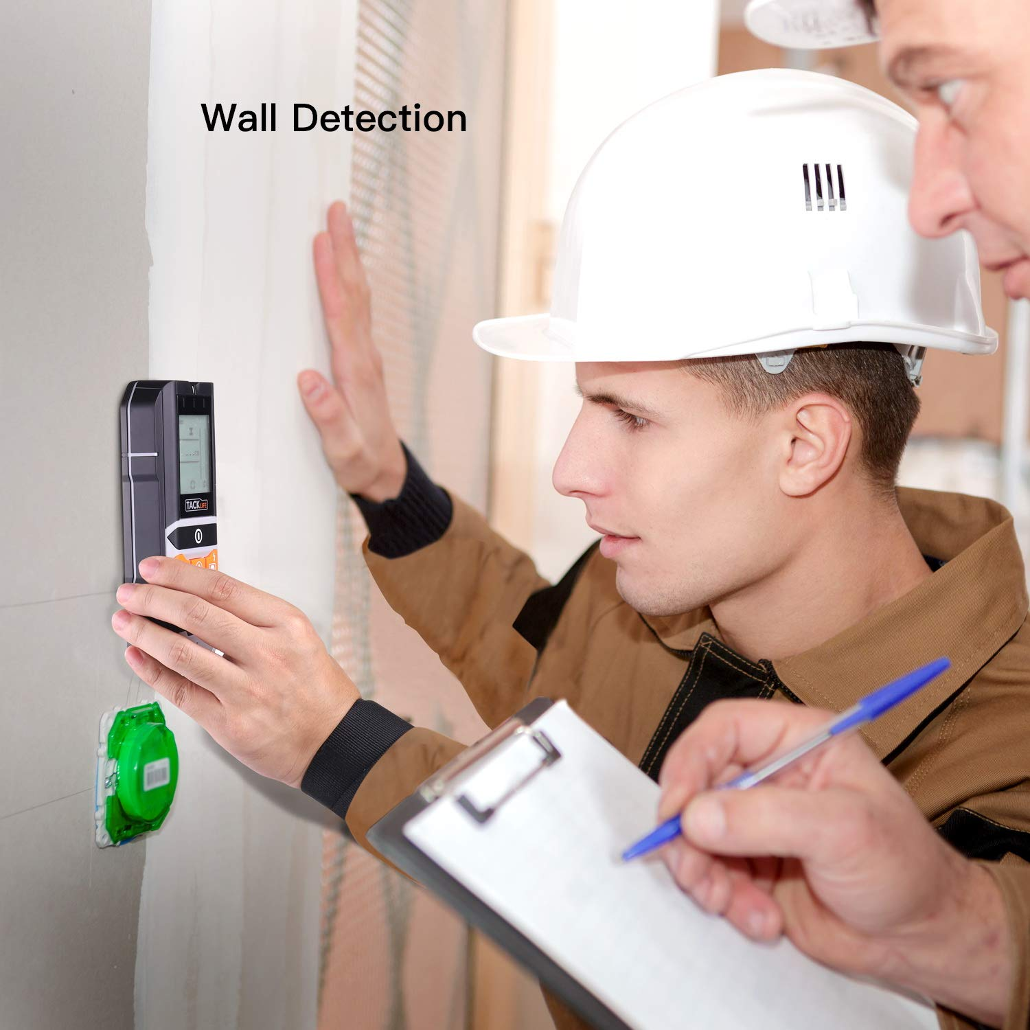 Tacklife DMS05 4 in 1 Multi-Wall Detector with 5.5 cm Backlit Screen Probe Pin- Fit for Magnetic//Non-Magnetic Metal AC Wire Stud Finder Wood and Moisture Detecting