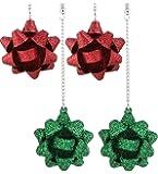 VOGUEKNOCK 3 Pairs Gift Bow Earring Studs Green Red Flower Dangle Earrings for Women Girls Christmas Gift