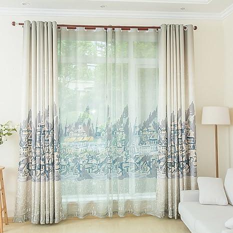 KINLO Transparente tende moderne per soggiorno 2 Pannelli - 145cm x ...