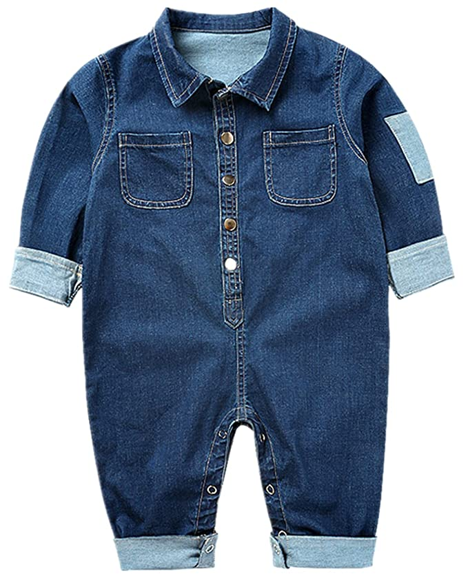 Rosie the Riveter Costume & Outfit Ideas QIANMEI Toddler Baby Boys Girls Long Sleeve Denim Romper Jumpsuit Outfit Clothes $19.76 AT vintagedancer.com