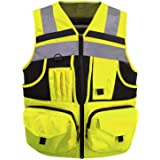 3M Reflective stripes Safety Vest Hi-vis Yellow knitted Vest with 10 pockets Bright Construction Workwear for men and…