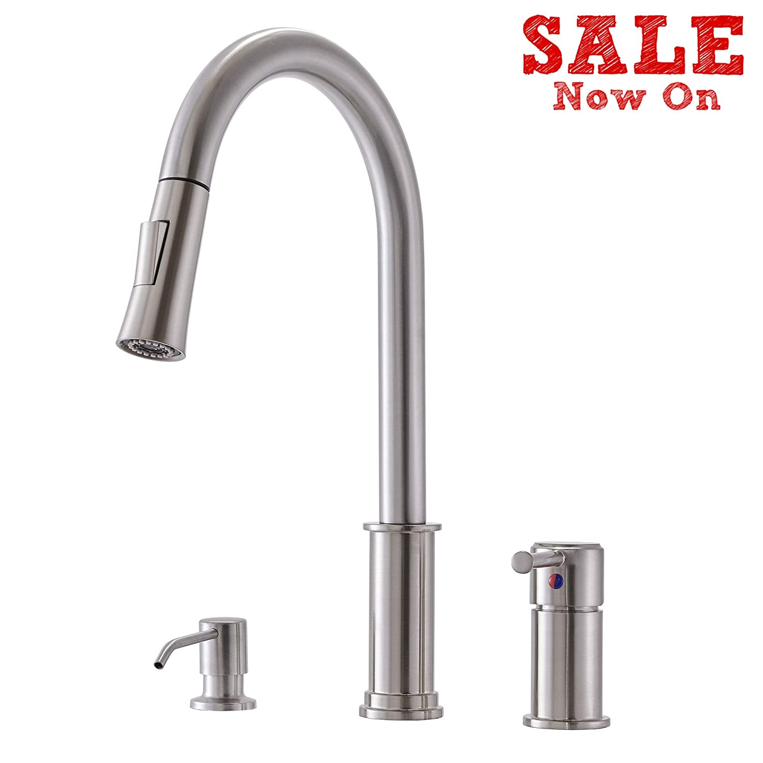 Comllen 3 Hole Modern High Arc Pull Out Brushed Nickel Kitchen Faucet,  Brushed Nickel Kitchen Faucet with Soap Dispenser