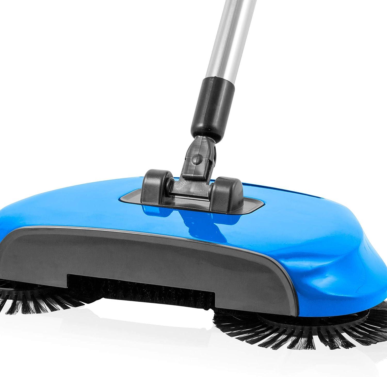 Balai rotatif aspirateur manuel sans fil et léger avec serpillère 2 brosses  de nettoyage rotatives