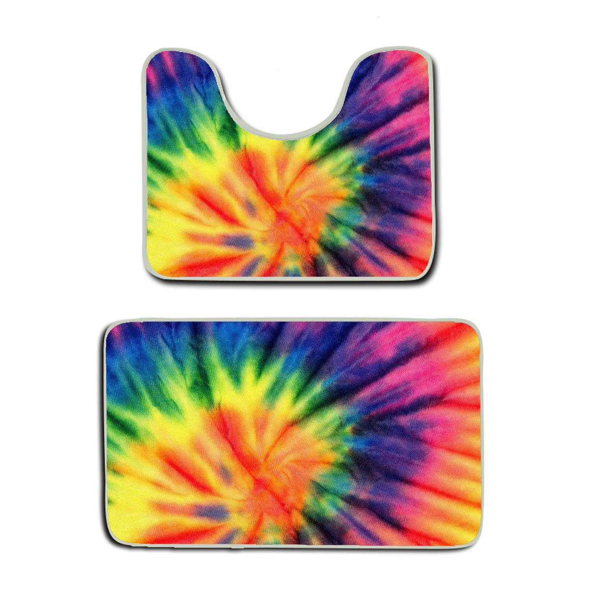 US TANG 2 Piece Bath Mat Set - spiral tie dye - Luxury White Cotton Bath Mats Hotel Spa Washable tub Set