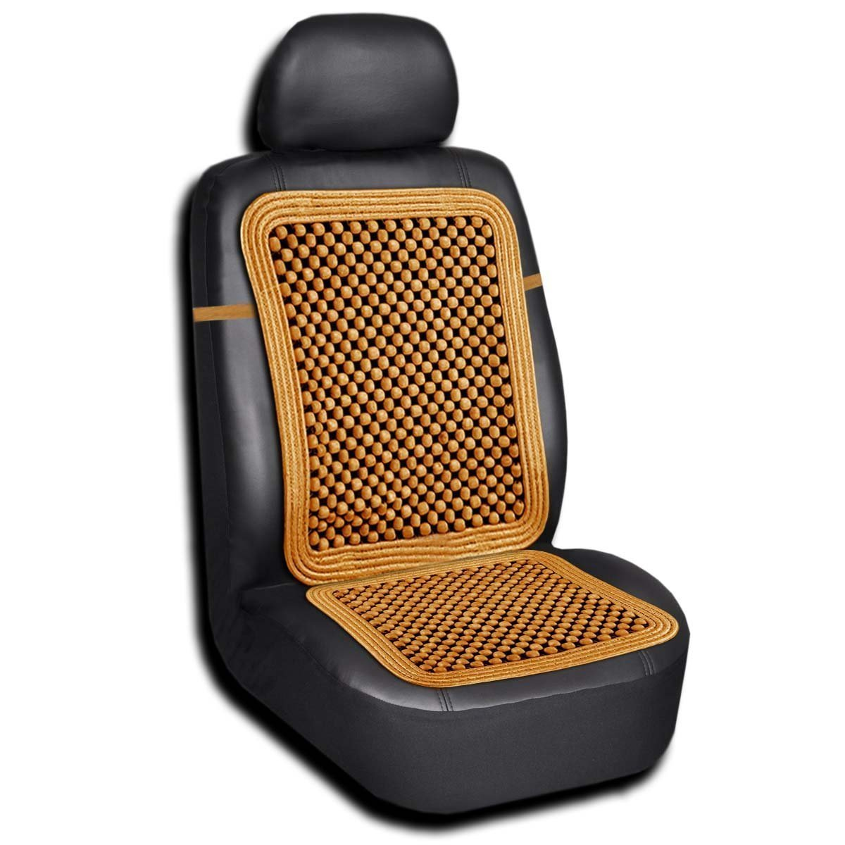Zento Deals High Ventilation Car Vehicle Lumbar Support Natural Wood Beaded Seat Cover Cushion