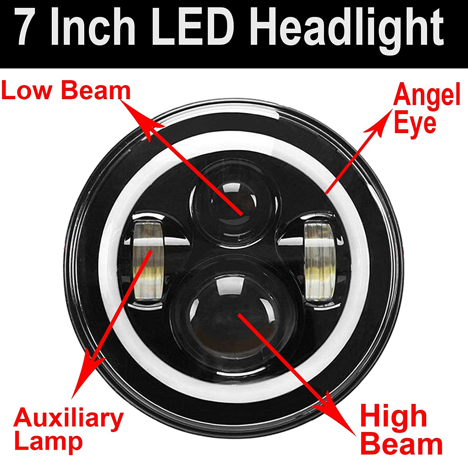 7Inch Round LED Headlight Sealed H4 H13 Hi//Low beam for Ford Mustang 65-78 truck